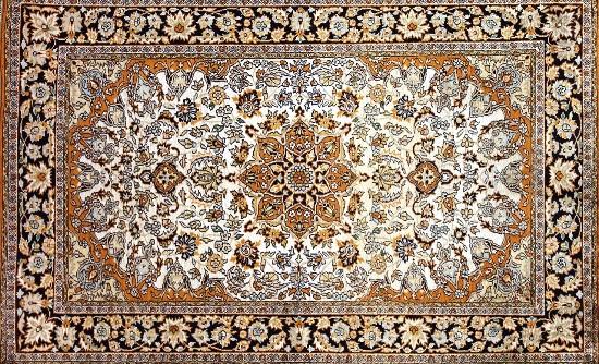 A traditional Kashmiri silk carpet.