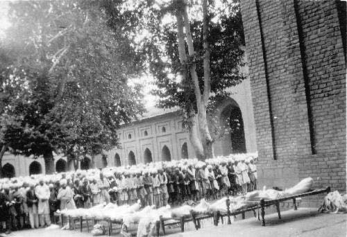 Last prayers being held for 13 July 1931 martyrs in the compound of historic Jamia Masjid, Srinagar.