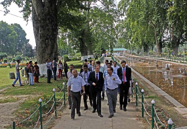 Incoming Inquiry: Striding with German Ambassador to India Michael Steiner, the INTACH chairman of Kashmir chapter, Saleem Beg is probably taking stock of heritage structures in Shalimar garden.