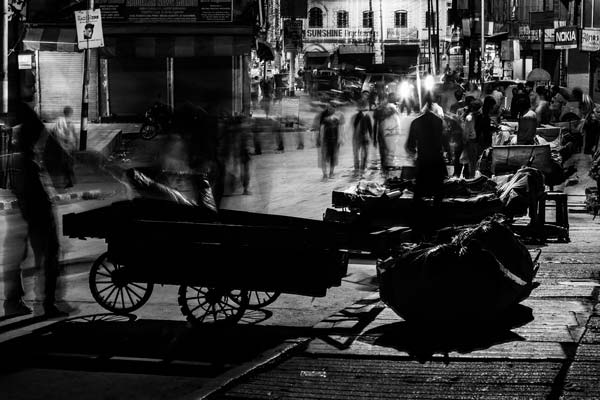 Trade scenes during night in city.