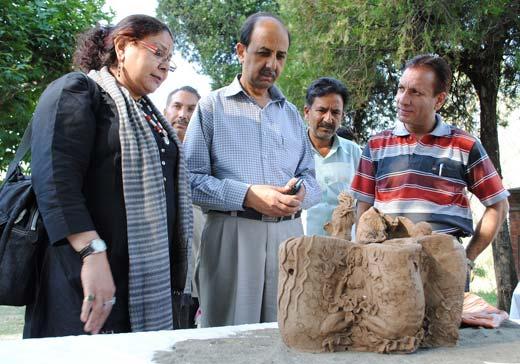 Secretary JKAACL Khalid Bashir inspecting the  Terracotta.