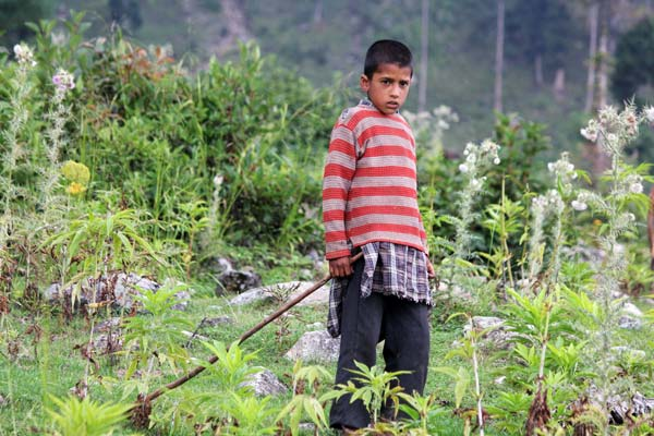 """Tender Foot: Wali's grandson, Gulzar, below 10-year-old seldom pays his attendance to local school due to abject poverty at home, besides, loud explosion of shells and mortars often force him out of school. """"His is not the only kid, whose studies are being affected by these firing drills,"""" Nazir claims. """"There are scores of such kids here who no longer attend school due to violent explosions."""""""