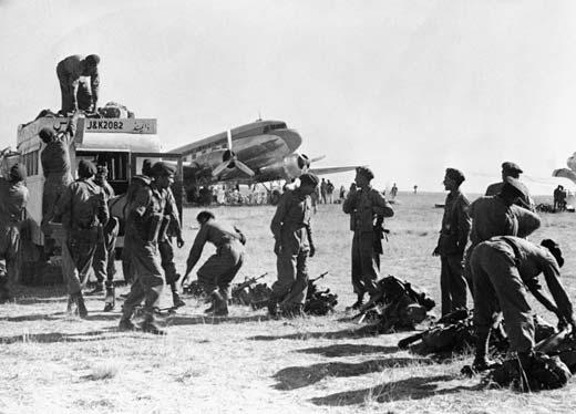 Indian army landing in Srinagar on October 27th, 1947.