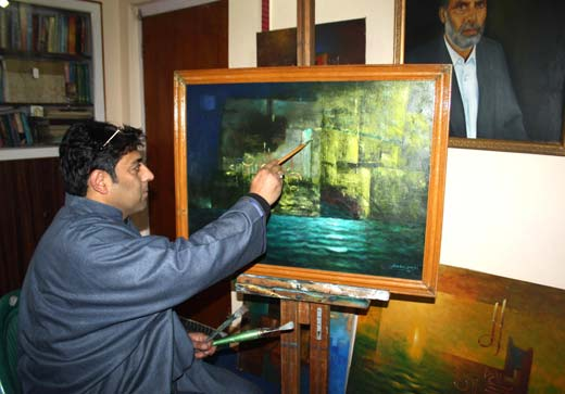 Arshad Souleh busy in his studio.
