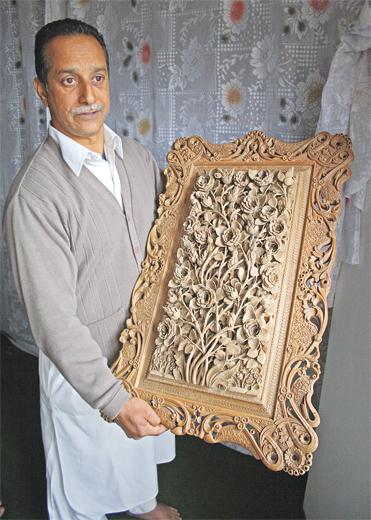My Art Work: A Kashmir wood carver's creation.