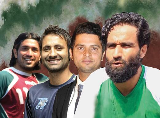 (L to R) Ishfaq Ahmad, Parvaiz Rasool, Suresh Raina and Mehrajudin Wadoo