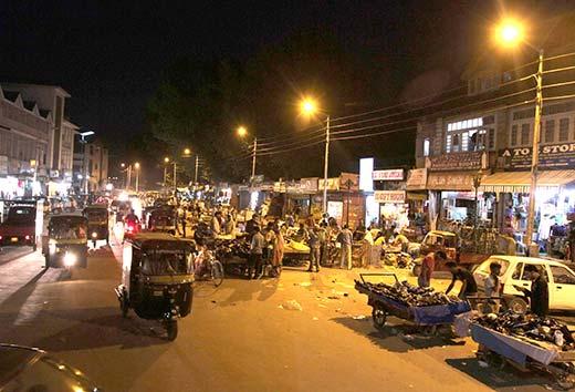 The buzzing night life in Lal Chowk, Srinagar.Pic: Bilal Bahadur