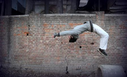 Zahid Shah while performing a free running act.