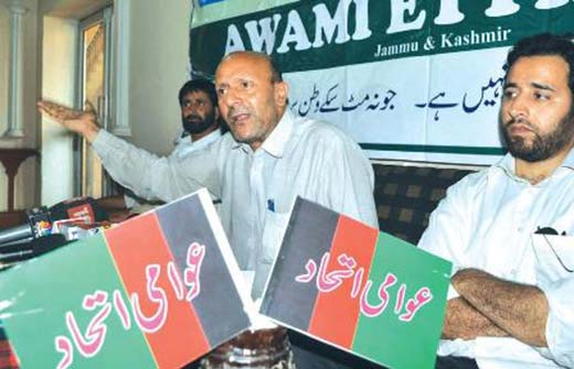 Er Rasheed addressing a press conference.