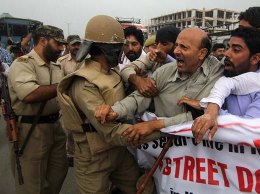 Er Rasheed during protest in Srinagar