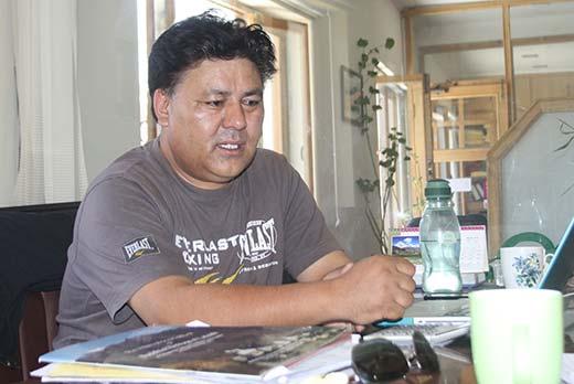 Tundup Dorjey in his office. Pic: Bilal Handoo