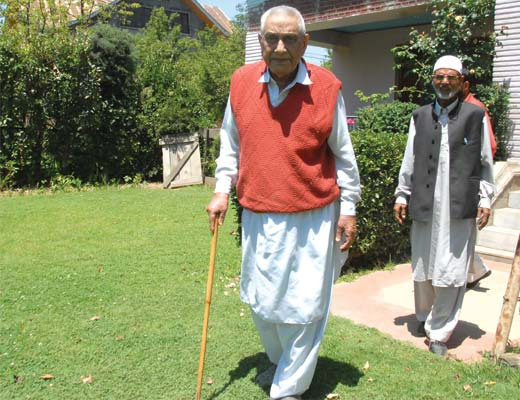Ghulam Rasool Kar at his  Sopore residence. Pic: Bilal Bahadur