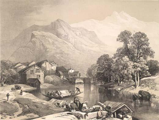 Jhelum at Bijbehara by James Duffield Harding in 1847.