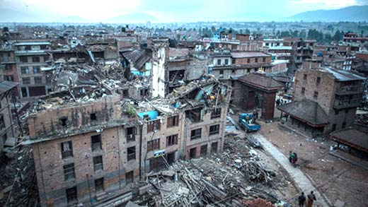 A view from devastated Nepal's capital city, Kathmandu.