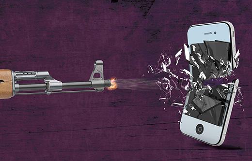 mobile-phone-blasts-with-gun-fire-illustration-by-Malik-Kaisar