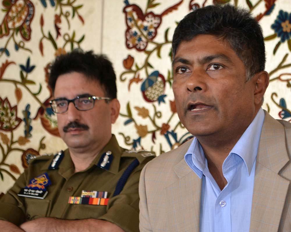 SM Sahai speaking during a press briefing in Srinagar. (Photo: Bilal Bahadur/KL)