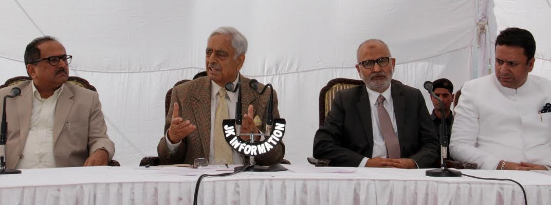 J&K CM Mufti Mohammad Sayeed addressing media in Jammu on Wednesday after chairing cabinet meet.