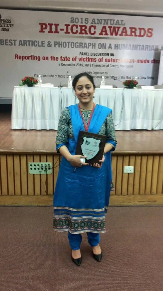 Shazia Yousuf after receiving award in New Delhi.