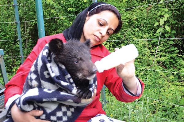 Aaliya Mir feeding a bear cub.
