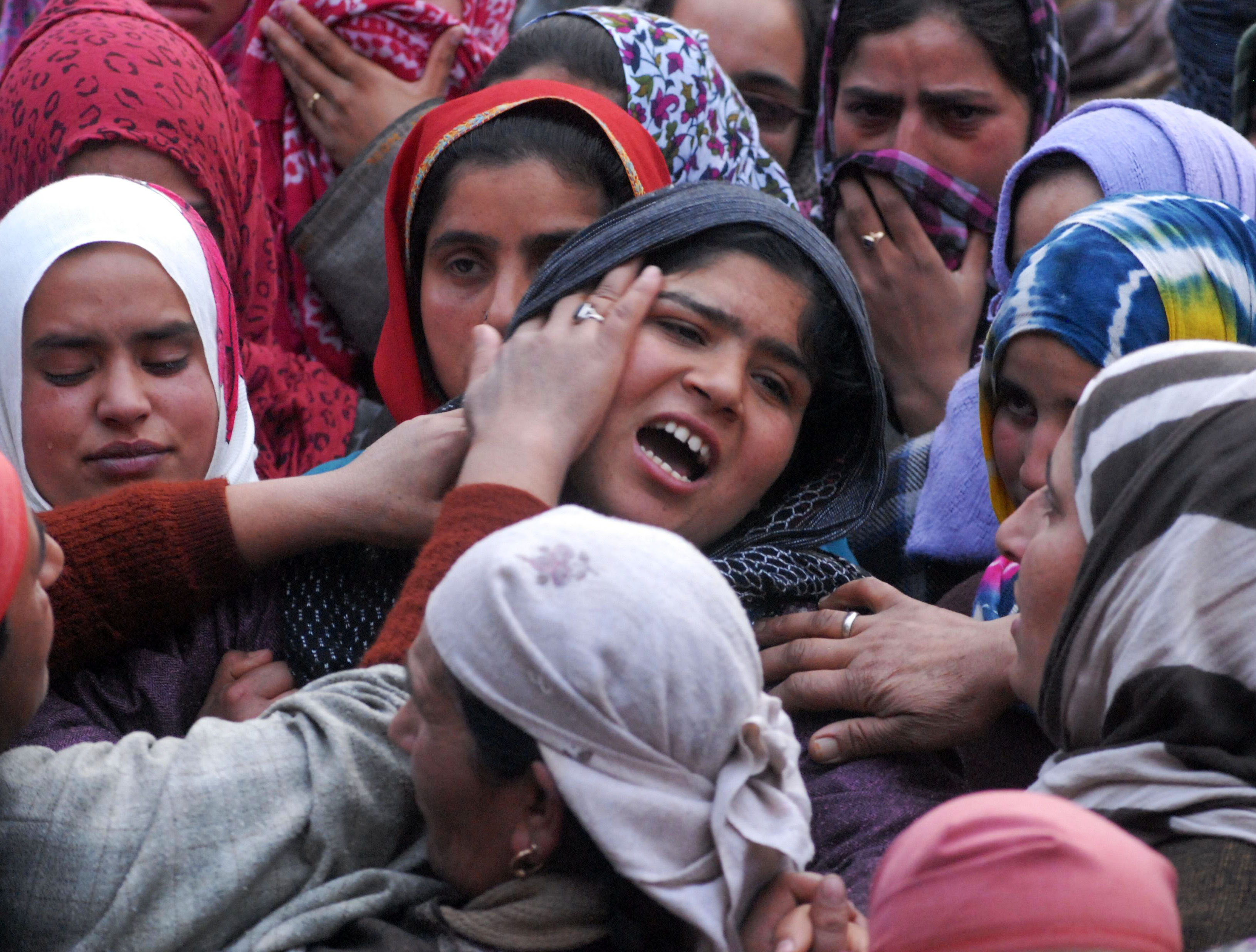 Relative walling near the body of Shaista who was allagedely killed in forces action on Sunday south Kashmir Pulwama District 14 February 2016 PHOTO BY BILAL BAHADUR
