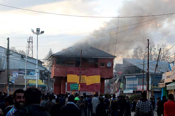 Handwara square bunker up in smoke.
