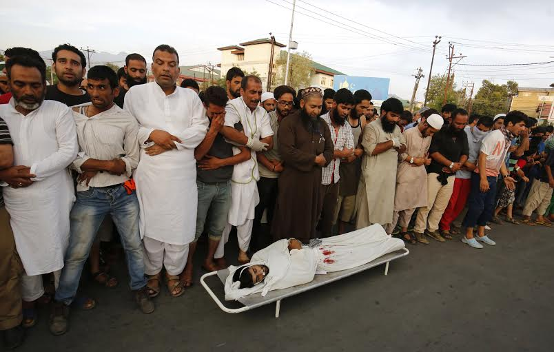 Bidding adieu: People offer funeral prayers of Sameer Ahmad Wani, r/o Naroo Takya Farooq area of central Kashmir's Budgam who was killed by forces on August 05, 2016. (KL Image: Bilal Bahadur)