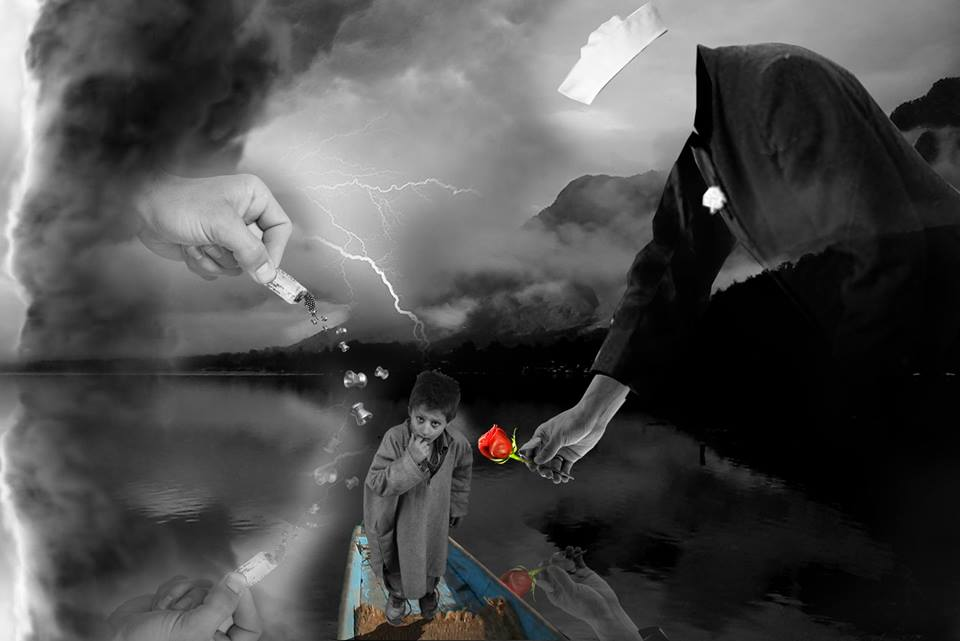 Kashmir's ace artist, Masood Hussain, describing the current Kashmir situation in his latest portrait.