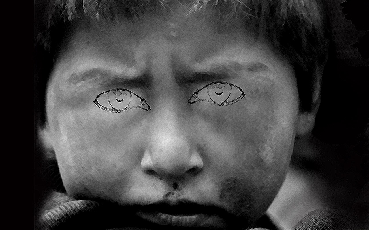 Artist Masood Hussain's pellet portrayal.