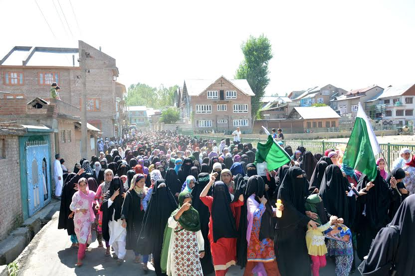 A massive 'All Women' rally was taken out in South Kashmir's Bijbehara on Friday against the civilian killings in Kashmir. (KL Image: Shah Hilal)