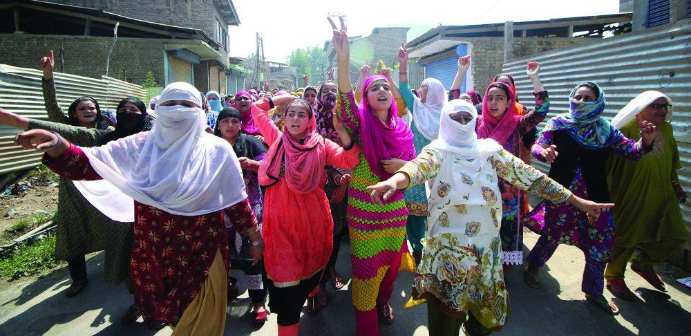 Women protest in Srinagar's Padshahi Bagh.