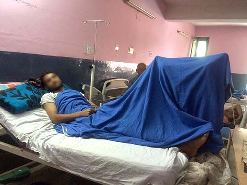 An injured boy admitted in the Bones & Joints Hospital Srinagar