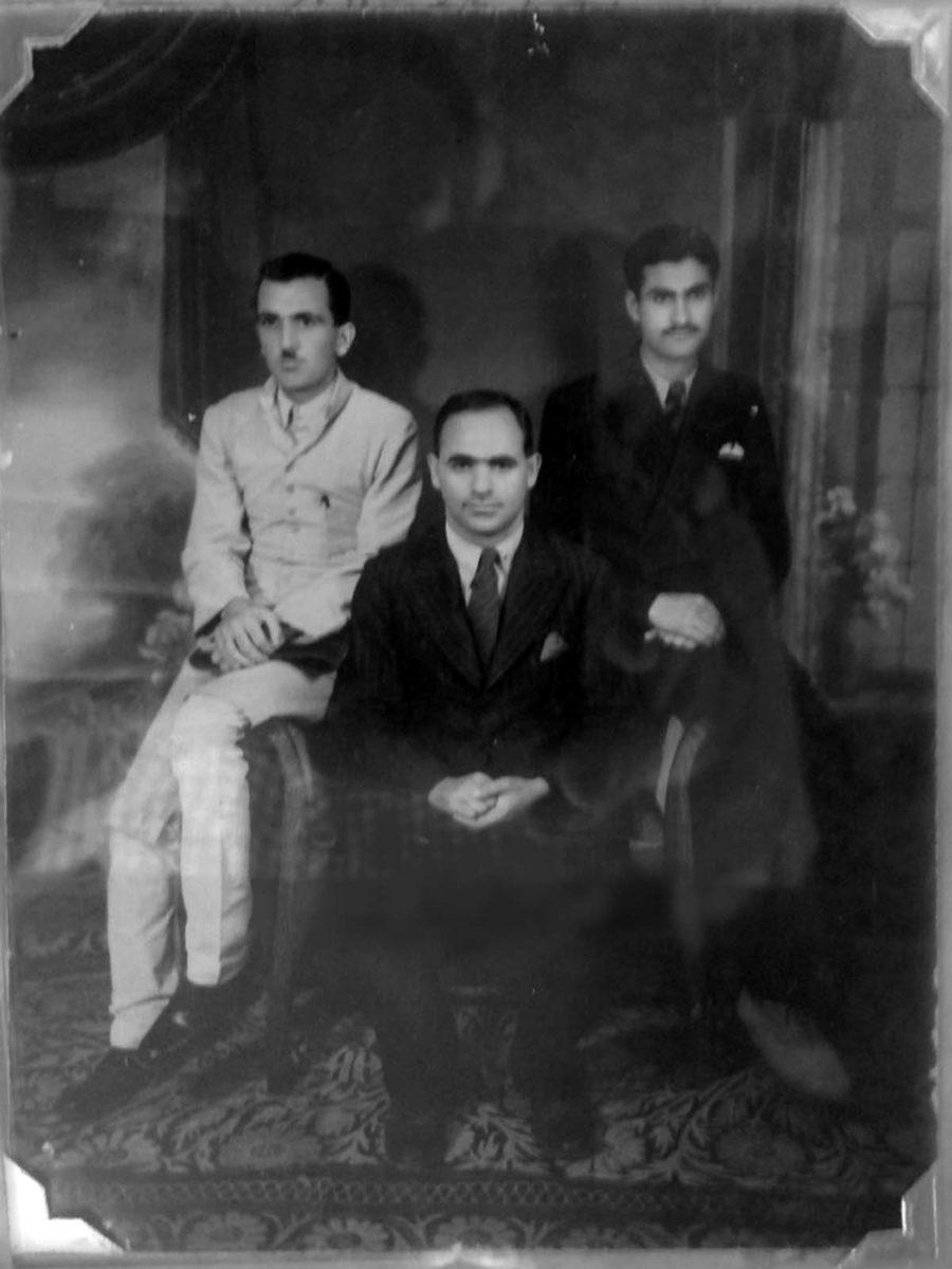 Prof Malik Ud Din with Abdul Aziz Bhat (R) and GR Azad (L).
