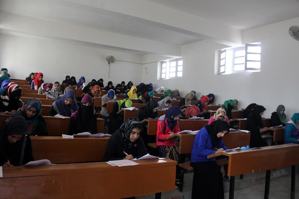 Students appear for the exams in a higher secondary school in Sopore. (Photo Abu Bakr)