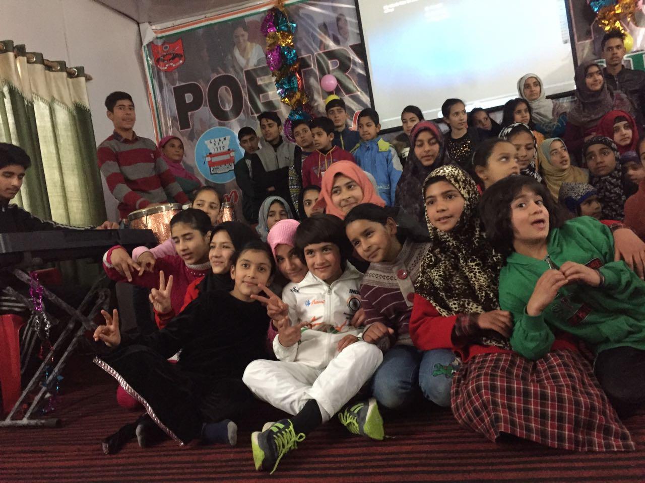 Tajamul celebrating her win with her school mates.